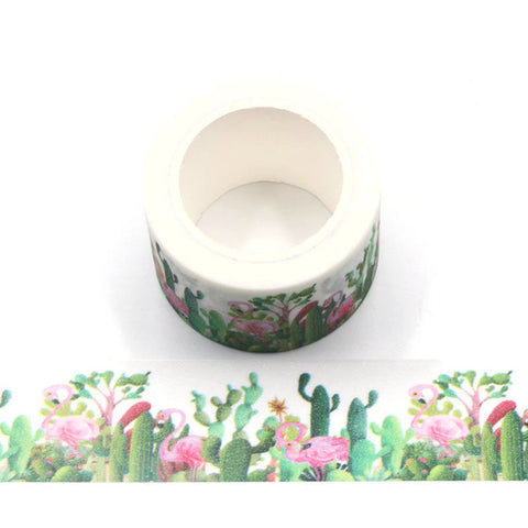 Cactus Flamingo Wide Sparkle Washi Tape