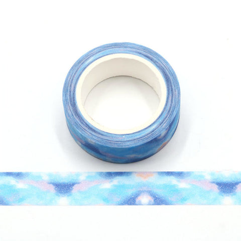 Blue Cloudy Pattern Sparkle Washi Tape