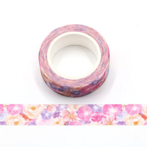 Colorful Flowers Sparkle Washi Tape