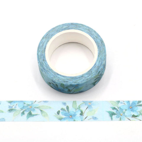 Blue with Blue Flowers Sparkle Washi Tape