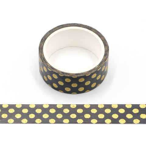 Black with Gold Sparkle Dots Washi Tape