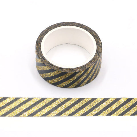 Black with Gold Sparkle Stripes Washi Tape