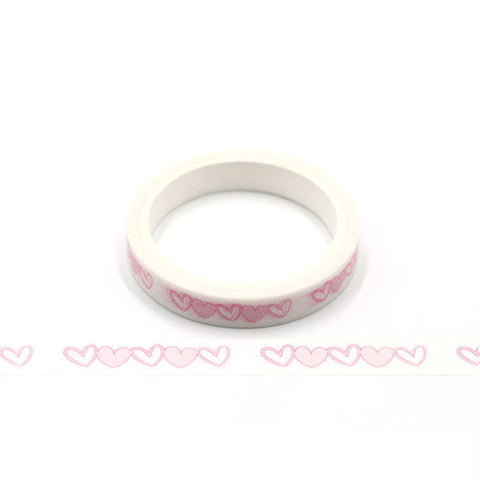 Pink Heart Skinny Perforated Washi Tape