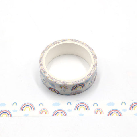 White with Rainbows Washi Tape