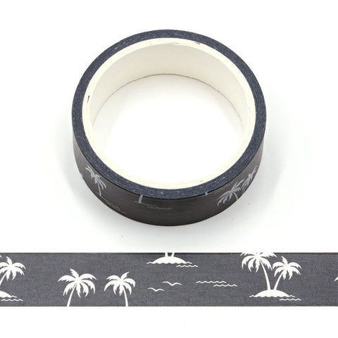 White Palm Trees on Black Washi Tape