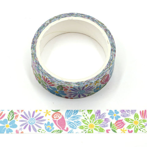 Cartoon Flowers on White Washi Tape