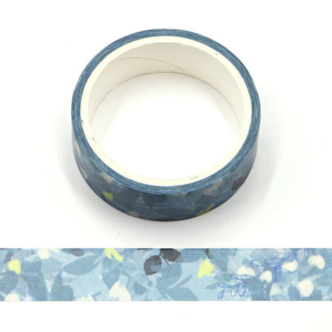 Dark Blue Flowers on Blue Washi Tape
