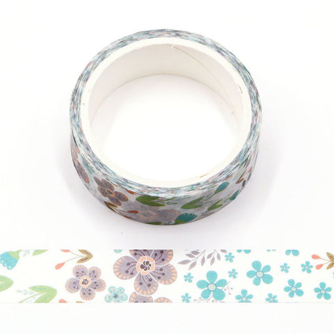 Purple and Teal Flowers on White Washi Tape