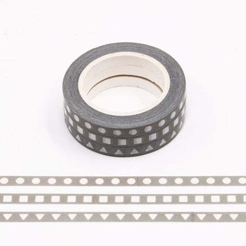 White Shapes on Gray Washi Tape Set of Three