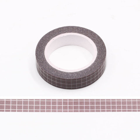 Dark Brown Grid Skinny Washi Tape
