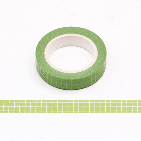 Green Grid Skinny Washi Tape