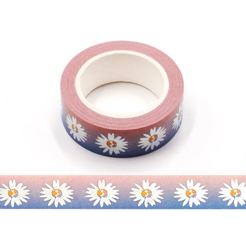 Foil Daisies on Ombre Washi Tape