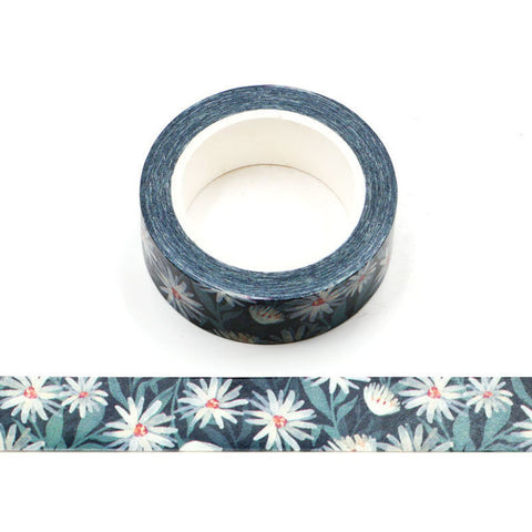 Daisies on Dark Blue Washi Tape
