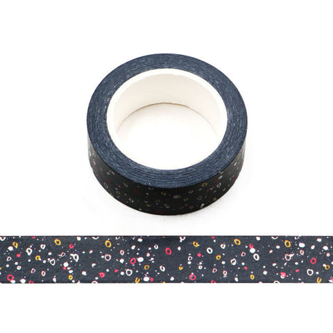 Colorful Dots on Black Washi Tape