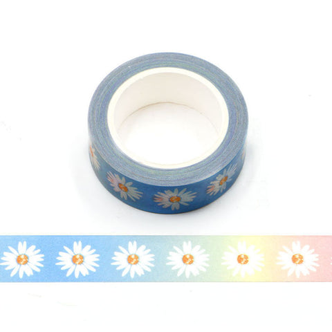 Daisies on Rainbow Washi Tape