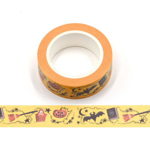 Halloween on Yellow Washi Tape
