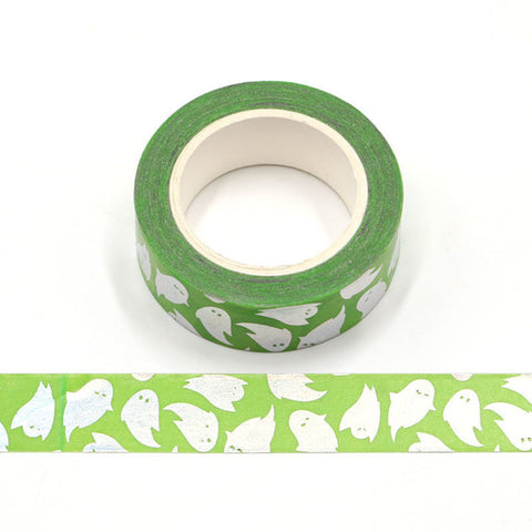 Green with Foil Ghosts Washi Tape