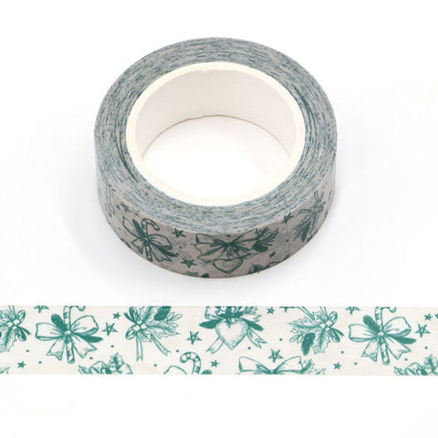 Green Christmas on Beige Washi Tape