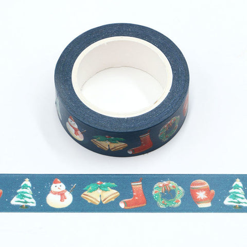 Blue with Christmas Washi Tape