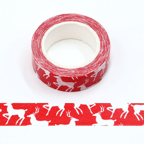 Red with White Reindeer Washi Tape