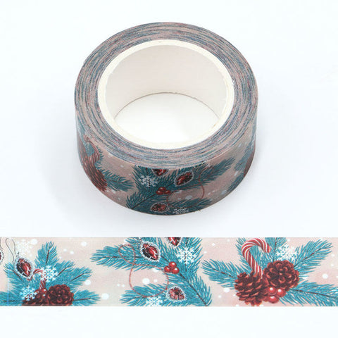 Pinecones and Candy Canes Wide Washi Tape
