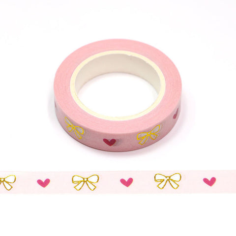 Hearts with Foil Bows Skinny Washi Tape
