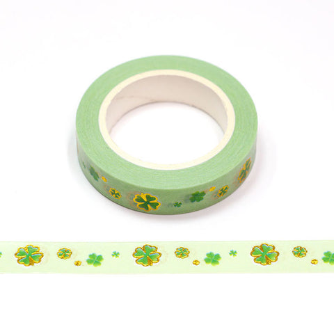 Green Lucky Clover Foil Skinny Washi Tape