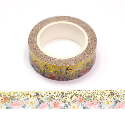 Pink Flowers with Gold Circles and Stars Washi Tape