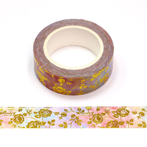 Watercolor with Gold Roses Washi Tape