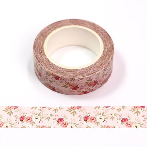 Pink with Pink Roses Washi Tape