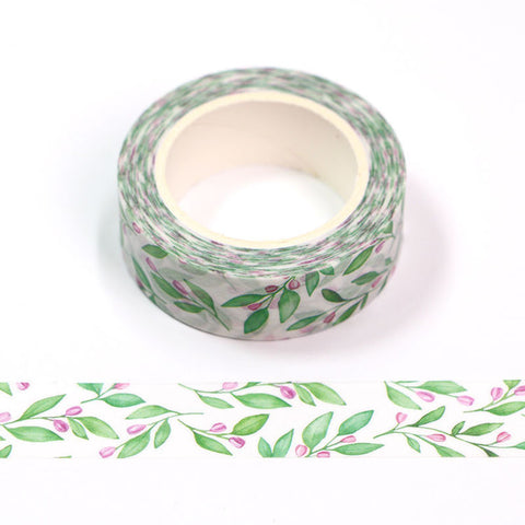 Green Leaves and Budding Flowers Washi Tape