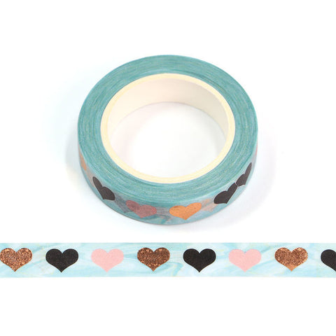 Blue with Foil Hearts Skinny Washi Tape