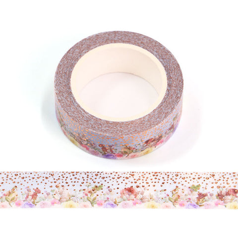 Colorful Flowers with Rose Gold Circles and Hearts Washi Tape