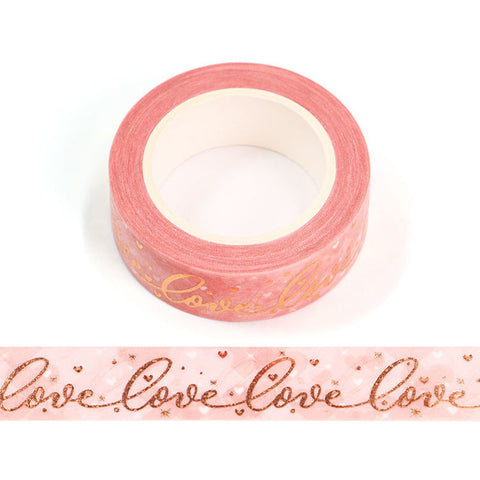 Gold Love on Pink Washi Tape