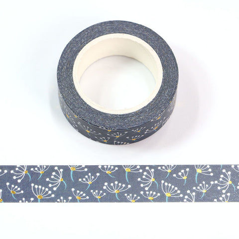 Dark Blue with Flowers and Gold Dots Washi Tape