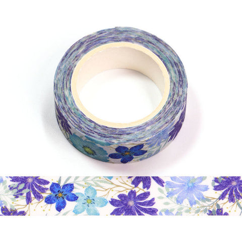 Blue and Purple Flowers Sparkle Washi Tape
