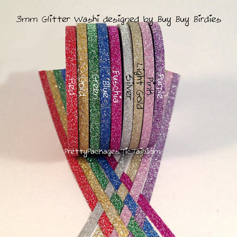 3mm Super Skinny Glitter Washi Tape