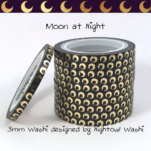 Moon at Night Foil 3mm Skinny Washi