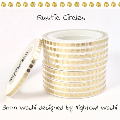 Rustic Circles Foil 3mm Skinny Washi