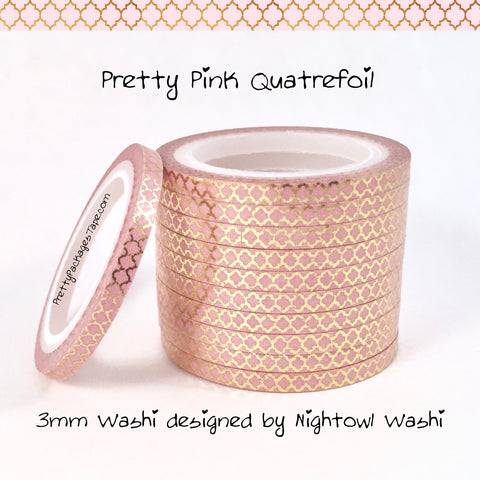 Pretty Pink Quatrefoil Foil 3mm Skinny Washi