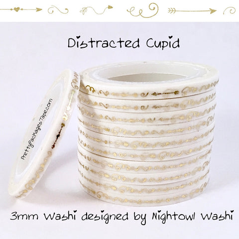 Distracted Cupid Foil 3mm Skinny Washi