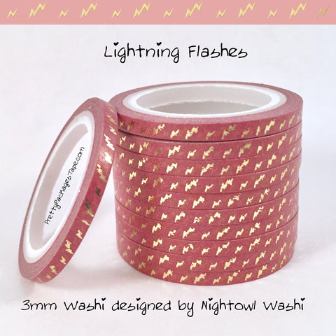 Lightning Flashes Foil 3mm Skinny Washi