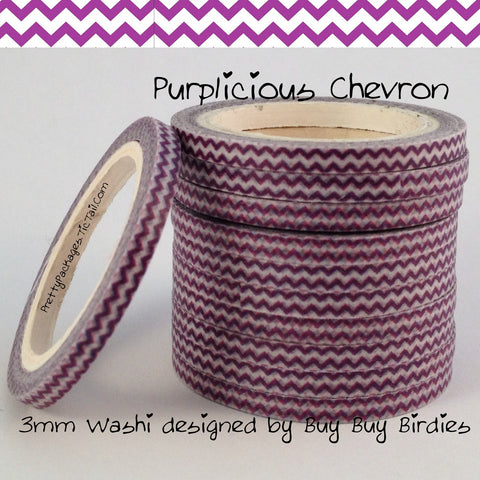 Purple Chevron 3mm Skinny Washi