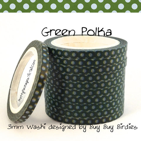 Green Polka 3mm Skinny Washi