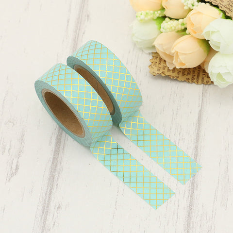 Mint with Gold Lattice Washi Tape