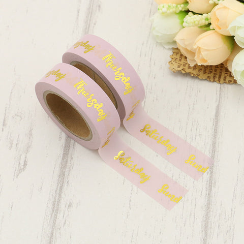 Pink with Gold Days of Week Washi Tape