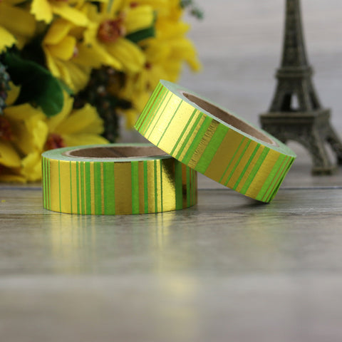 Green with Gold Stripes Washi Tape