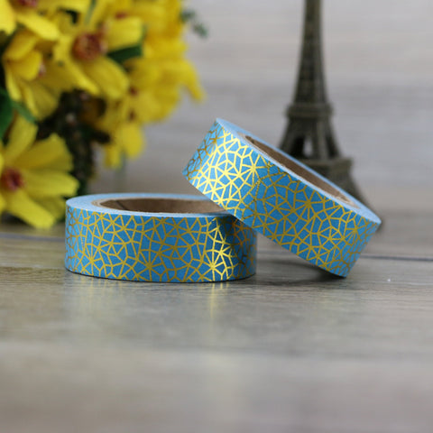 Turquoise with Gold Geometric Pattern Washi Tape