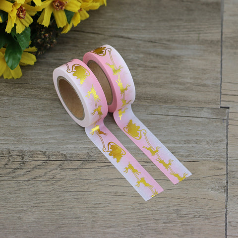 Gold Foil Santa and Reindeer Pink Ombre Washi Tape