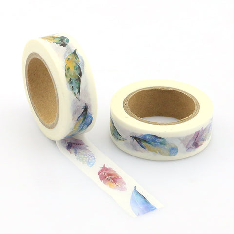 Watercolor Feathers Washi Tape